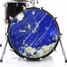 Lapis Lazuli graphic drum skin on bass drum head by Visionary Drum; closeup stone drum art