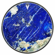 Lapis Lazuli graphic drum skin installed on bass drum head by Visionary Drum; mineral drum art