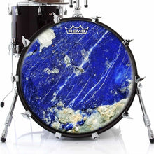 Lapis Lazuli Design Remo-Made Graphic Drum Head on Bass Drum; stone drum art