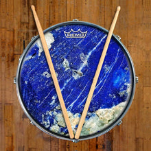 Lapis Lazuli Design Remo-Made Graphic Drum Head on Snare Drum; nature drum art