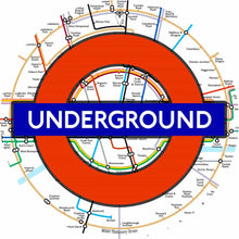 London Underground design graphic drum skin by Visionary Drum; logo drum art