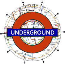 London Underground bass face drum banner by Visionary Drum; subway drum art