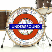 London Underground bass face drum banner installed on drum kit by Visionary Drum; united kingdom drum art