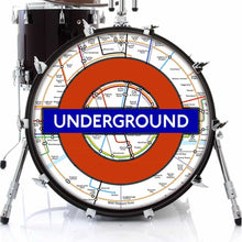 London Underground graphic drum skin on bass drum head by Visionary Drum; map drum art