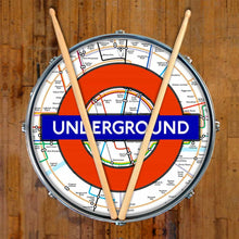London Underground graphic drum skin on snare drum head by Visionary Drum; red circle drum art