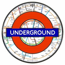 London Underground graphic drum skin installed on bass drum head by Visionary Drum; mass transportation drum art