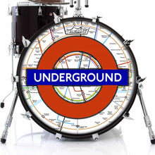 London Underground Design Remo-Made Graphic Drum Head on Bass Drum; London map drum art
