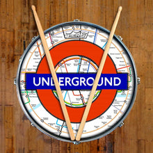 London Underground Design Remo-Made Graphic Drum Head on Snare Drum; subway drum art