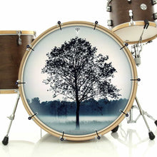 Lone Tree bass face drum banner installed on bass drum; visionary drum art