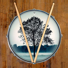 Lone Tree graphic drum skin on snare drum head; meditation drum art