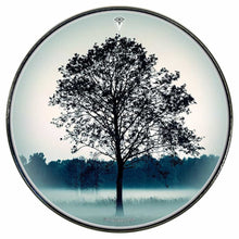 Lone Tree graphic drum skin installed on bass drum head by Visionary Drum; black nature drum art
