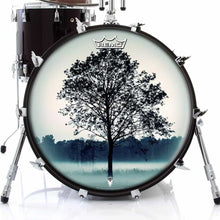 Lone Tree Design Remo-Made Graphic Drum Head on Bass Drum; sacred drum art