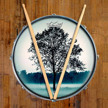 Lone Tree Design Remo-Made Graphic Drum Head on Snare Drum; meditation drum art