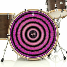 Love Hub bass face drum banner installed on drum kit; visionary drum art