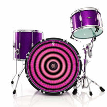 Love Hub graphic drum skin installed on bass drum and shown on purple drum kit; visionary drum art