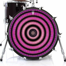 Love Hub graphic drum skin on bass drum head by Visionary Drum; geometric drum art