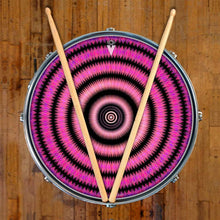 Love Hub graphic drum skin on snare drum head by Visionary Drum; geometric pattern drum art