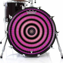 Love Hub Design Remo-Made Graphic Drum Head on Bass Drum; black pattern drum art