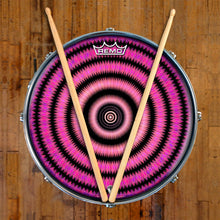 Love Hub Design Remo-Made Graphic Drum Head on Snare Drum; psychedelic drum art