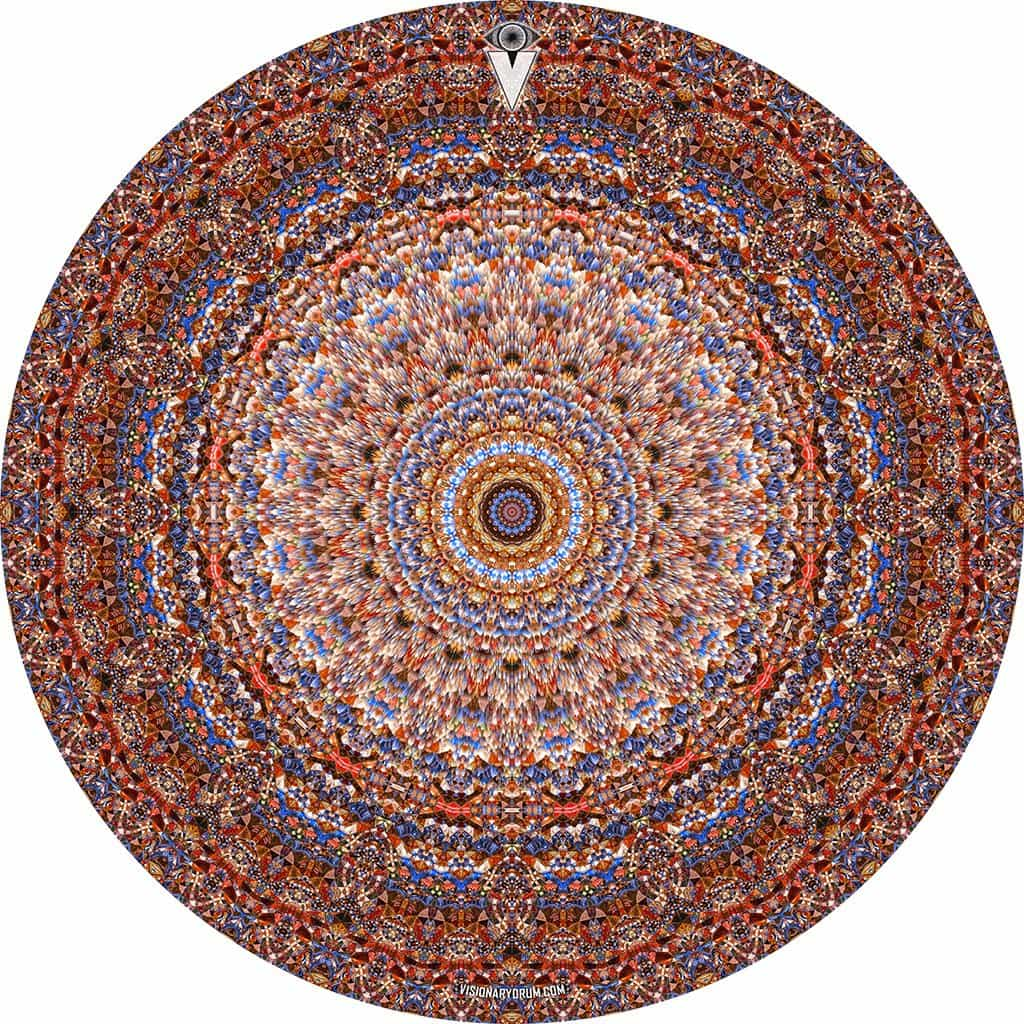 Kaleidoscopic mandala graphic drum skin art decal by Visionary Drum