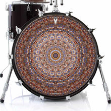 Kaleidoscopic mandala graphic drum skin art decal on bass