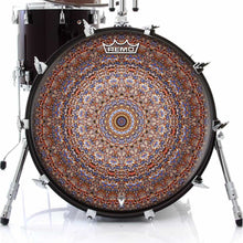 Kaleidoscopic mandala Remo graphic drum head on bass