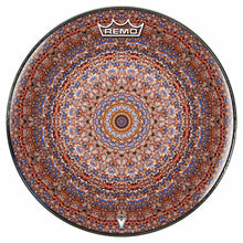 Kaleidoscopic mandala Remo graphic drum head by Visionary Drum