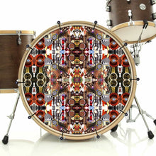 Majestic bass face drum banner installed on drum kit; visionary drum art
