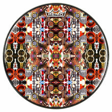 Majestic Design Remo-Made Graphic Drum Head by Visionary Drum; gold drum art
