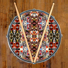 Majestic graphic drum skin on snare drum head by Visionary Drum; red pattern drum art