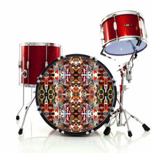 Majestic graphic drum skin installed on bass drum head and shown on red drum kit; visionary drum art