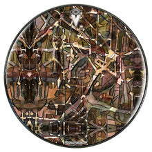 Many Layers graphic drum skin installed on bass drum head by Visionary Drum; earth tone drum art