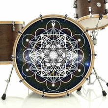 Meta Space bass face drum banner installed on bass drum and shown on drum kit; visionary drum art
