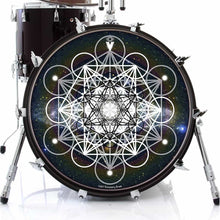 Meta Space graphic drum skin on bass drum head by Visionary Drum; meditation drum art