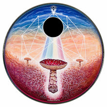 Black Sun mushroom psychedelic graphic drum skin pre-installed on head; spiritual drum art