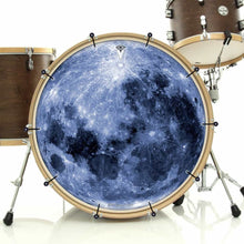 Blue Moon bass face drum banner installed on drum kit; visionary drum art