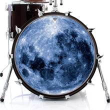 Blue Moon graphic drum skin on bass drum by Visionary Drum; outer space drum art