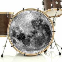 Moon bass face drum banner installed on drum kit; visionary drum art
