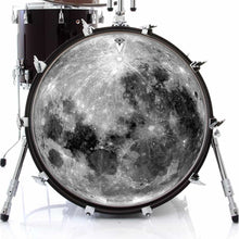 Moon graphic drum skin on bass drum by Visionary Drum; outer space drum art