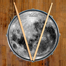 Moon graphic drum head by Visionnary Drum, made by Remo on snare drum