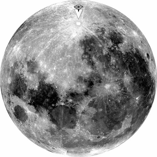 Moon design graphic drum skin by Visionary Drum; black and white drum art