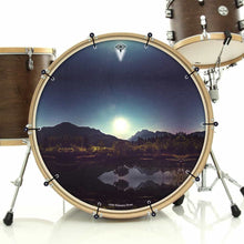 Moonglow bass face drum banner installed on drum kit by Visionary Drum; night sky drum art