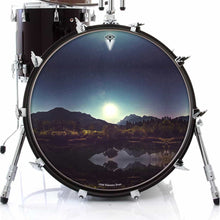 Moonglow design graphic drum skin on bass drum head by Visionary Drum; nature drum art