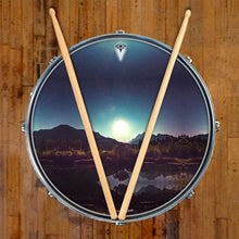 Moonglow design graphic drum skin on snare drum head by Visionary Drum; night drum art