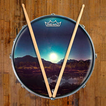 Moonglow Design Remo-Made Graphic Drum Head on Snare Drum; night sky drum art