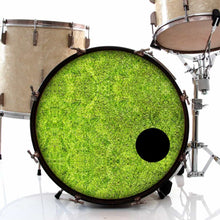 Moss graphic drum skin installed on bass drum head and shown on drum kit; nature lover drum art