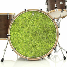 Moss bass face drum banner installed on drum kit by Visionary Drum; forest drum art