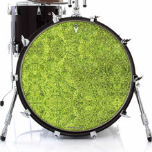 Moss design graphic drum skin on bass drum head by Visionary Drum; nature drum art