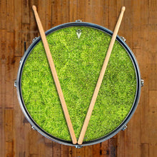Moss design graphic drum skin on snare drum head by Visionary Drum; textural drum art