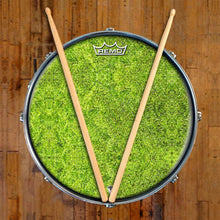 Moss Design Remo-Made Graphic Drum Head on Snare Drum; fuzzy drum art